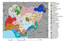 Nigeria Africa Map by Ecoregions And Topography Of Nigeria West Africa