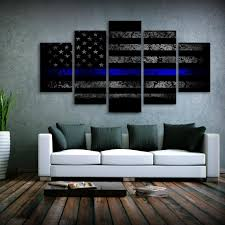 canvas decorations for home thin blue line us flag canvas printed wall art for home decor my