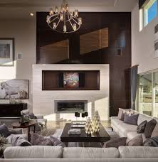 transitional fireplace family room with swivel bar height stools