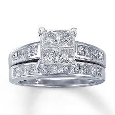 princess cut wedding set diamond bridal set 2 1 2 ct tw princess cut 14k white gold