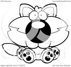 cartoon clipart of an outlined cute baby wolf sitting black and