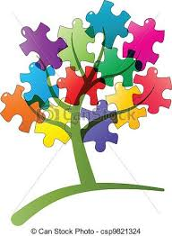 eps vector of puzzle tree illustration of tree with puzzle