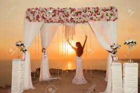 wedding ceremony arch sunset silhouette wedding ceremony arch with flower
