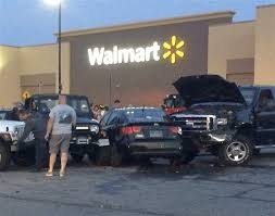 Walmart Car Port Truck Rams Cars Patrons In Port Clinton Walmart Parking Lot The