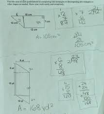 area of quadrilaterals students are asked to find the area of a