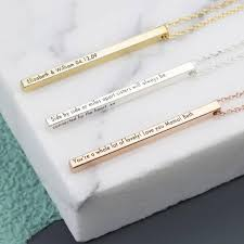personalised necklaces personalised shiny vertical bar necklace by angel