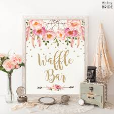 Wedding Shower Decorations by Waffle Bar Sign Pink And Gold Boho Bohemian Bridal Shower