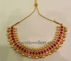 ruby choker with gold indian jewelry south sea pearls and