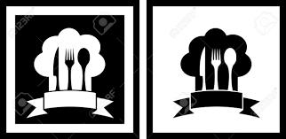 symbole cuisine fixés symboles restaurant avec chapeau de chef et ustensiles de