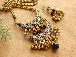 boho necklace set images Black antique style moon tribal boho pendant chain necklace set at jpg