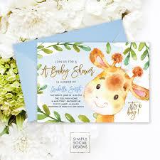 giraffe baby shower invitation blue boho april giraffe it u0027s a