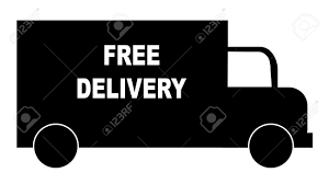 silhouette of truck with words free delivery vector royalty