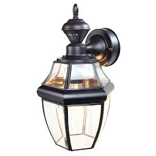 Lowes Outdoor Wall Lights Shop Secure Home Hanging Carriage 14 5 In H Black Motion Activated