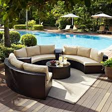 Crosley Furniture Catalina Piece Outdoor Wicker Seating Set With - Round outdoor sofa 2