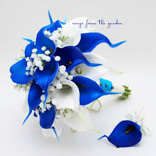 royal blue boutonniere blue and white real touch calla bridal bouquet groom s