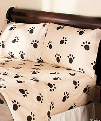 dog paw print sheet set or pillow sham blanket ensemble