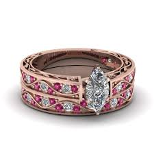 wedding rings set marquise cut antique diamond filigree wedding set with pink