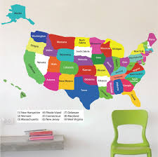 united states map wall decal educational wall decal murals