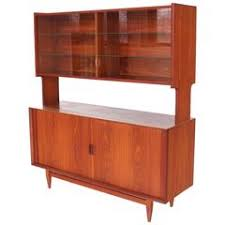 modern danish mahogany shelving unit or bookcase with tambour