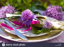 ornamental garlic table setting stock photo royalty free image