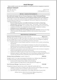retail sales manager resume retail manager resume template