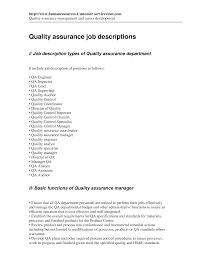 Quality Auditor Resume Quality Assurance Job Description For Resume 2016 Recentresumes Com
