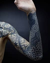 3d geometric tattoos on sleeve real photo pictures images and