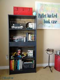 Particle Board Bookcase One Room Challenge Week Two Pallet Backed Bookcase Makeover And