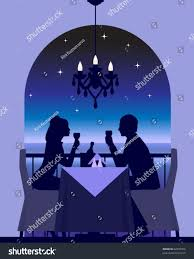 elegant couple enjoying romantic dinner date stock vector 62925766