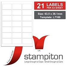 Label Printing Template 21 Per Sheet by 100 Sheets Matt White Address Labels 63 5 X 38 1 Mm 21 Amazon Co