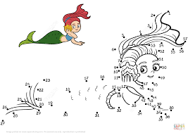mermaid dot to dot free printable coloring pages