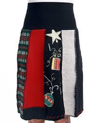 christmas skirt christmas sweater skirt re purposed women s skirt green 3