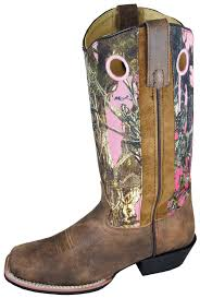 smoky mountain boots womens tupelo brown pink distress leather