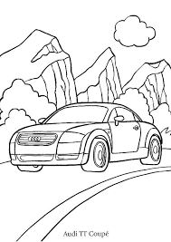 a colorier une audi tt coupé sillonant les montagnes coloriages