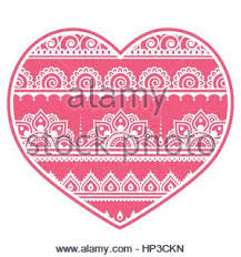 valentine u0027s day heart mehndi indian henna tattoo pattern stock