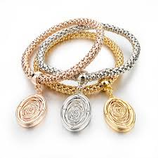 gold plated charm bracelet chain images Gold silver chain bracelet with round charm chokers pendants jpg