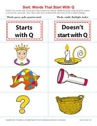 words starting with letter q beginning consonant worksheets