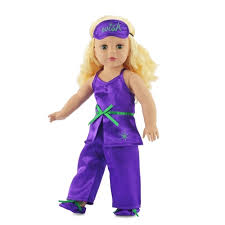 18 inch doll clothes purple satin pajamas pjs with green trim