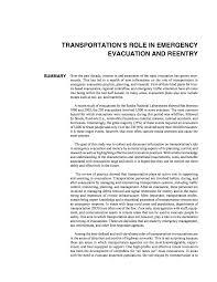 summary transportation u0027s role in emergency evacuation and