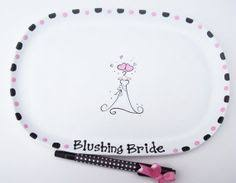 bridal shower plate to sign ceramic rectangle signature plate for bridal shower ceramics