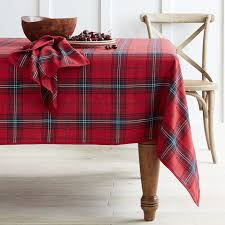 classic tartan plaid tablecloth williams sonoma