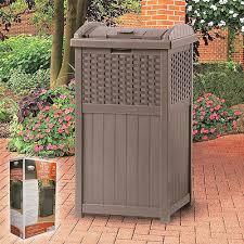 suncast trash hideaway receptacle outdoor resin garbage can patio