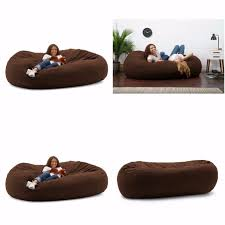 comfort suede espresso big joe xxl fuf 7 foot bean bag memory foam
