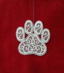 embroidered free standing lace paw print ornament lace