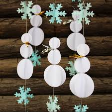 5pcs lot 3d paper crafts snowman decorations snowflake garland