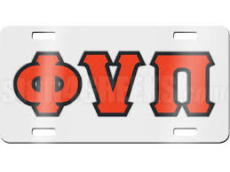 kappa alpha psi license plate with red phi nu pi greek letters on