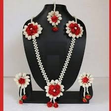 flower necklace set images Floret jewelry mogra flower jewelry set with earrings maang etsy jpg