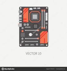 papier peint bureau pc couleur plate plate vecteur partie icône carte mère d ordinateur
