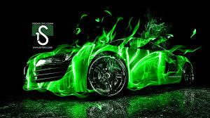 Audi R8 Green - audi r8 fire car abstract 2013 el tony part 2