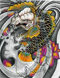 colorful japanese koi fish dragon and peony flowers tattoo design